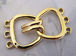 3 sets two part gold tone three strand clasps 21mm wide - f4114