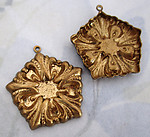 5 pcs. raw brass ornate stamping charms 28mm - f4143