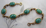 raw brass mottled green plastic cabochon channel connector bracelet - f4177