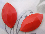 6 pcs. glass coral orange faceted navette flat back cabochons 22x13mm - f4191