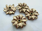 10 pcs. raw brass riveted double stacked flower beads 14mm - d313