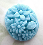 glass turquoise blue floral flower relief cameo cabochon 20x18mm - d338