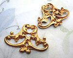 4 pcs. raw brass ornate Victorian style stampings 23x19mm - d404