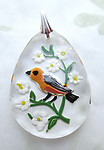 glass reverse painted intaglio bird and flowers scalloped edge pendant 31x22mm - d419