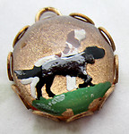 glass reverse painted intaglio pointer dog charm 13mm - d445
