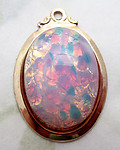 glass faux fire opal pendant in gold plated setting 22x17mm - d455