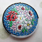 glass hand painted faux mosaic floral flower cabochon 23mm - d456