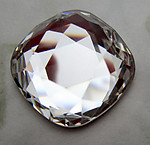 Swarovski art # 4470 MCC machine cut crystal clear foiled cushion flat back cabochon 18mm - d472