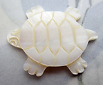 MOP mother of pearl hand carved turtle cabochon 27x21mm - d475