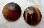 genuine natural tigers eye semi precious gemstone flat back cabochon 18mm - d481