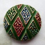 glass hand painted intaglio green harlequin diamond flat back cabochon 18mm - d487