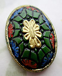 glass hand painted flower floral relief cabochon 25x18mm - d489