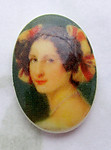 3 pcs. porcelain print portrait of a lady flat back cabochons 18x13mm - d492