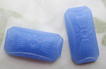 2 pcs. glass octagon Art Deco relief flat back cabochons 18x10mm - d494