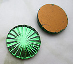 4 pcs. glass green foiled starburst sun ray flower flat back cabochons 13mm - d500