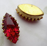 6 pcs. glass red nanette marquise rhinestones in raw brass prong settings 15x7mm - d519