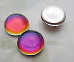 10 pcs. glass foiled rainbow special effects flat back cabochons 9mm - d520