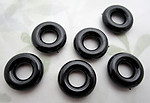 18 pcs. plastic black donut hoop beads findings charms 15mm - d530