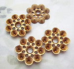 10 pcs. raw brass rivet on multiple 4mm rhinestone settings flower 15mm - d532