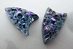 4 pcs. glass ornate blue AB textured foiled arrowhead flat back cabochons 10x6mm - f3165