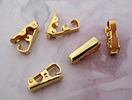 15 pcs. gold tone fold over clasps 3mm wide - f4847