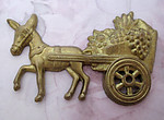 raw brass donkey burro pulling fruit flower cart stamping 57x37mm - f4848