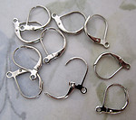 30 pcs. silver tone rhodium plated lever back pierced earring wire findings w loop - f4890