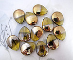 12 pcs. glass topaz w half antiqued gold tear beads 21x16mm - f5041