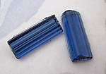 6 pcs. glass art deco sapphire blue rectangle cabochons 20x8mm - f5043