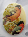 porcelain decal bird flat back cabochon 40x30mm - f5414