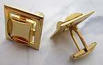 2 pcs (1 pair) gold tone cufflink blanks w 12mm square cabochon settings 21mm - f5487
