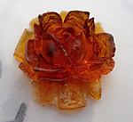 2 pcs. celluloid transparent amber flower cabochons 17x17mm - f5523