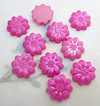 30 pcs. pink pearly plastic flower flat back cabochons 13mm - f6555