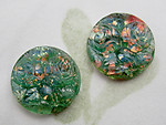 3 pcs. glass green w foil inclusion and textured floral flower cameo tops flat back cabochons 13mm - f6852