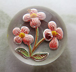 glass reverse painted intaglio flower cabochon 11mm - f7076