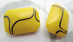4 pcs. glass yellow w squiggle stripe octagon pointed back rhinestones 18x13mm - f7091