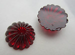 8 pcs. glass deep red flower flat back cabochons w off set recess 13mm - f7210