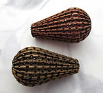 raw brass fluted ridged pierced large pear teardrop beads 32x18mm - f7233