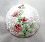 vitreous glass enameled guilloche floral flower cabochon 20mm - f7245