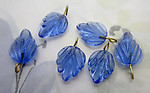 18 pcs. glass light sapphire blue leaf leaves on wire charms approx 14x10x3mm - s1011