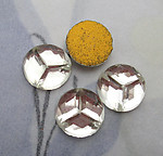 12 pcs. glass triad peace sign or three slices of pie foiled flat back cabochons 9mm - s1016