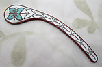 copper w vitreous glass enamel floral flower paisley finding 52x10mm - s112