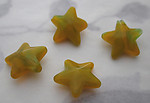 12 pcs. glass yellow and green swirl star beads 15mm - s236