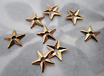 24 pcs. gold tone plated star stampings w center hole beads 9mm - s658