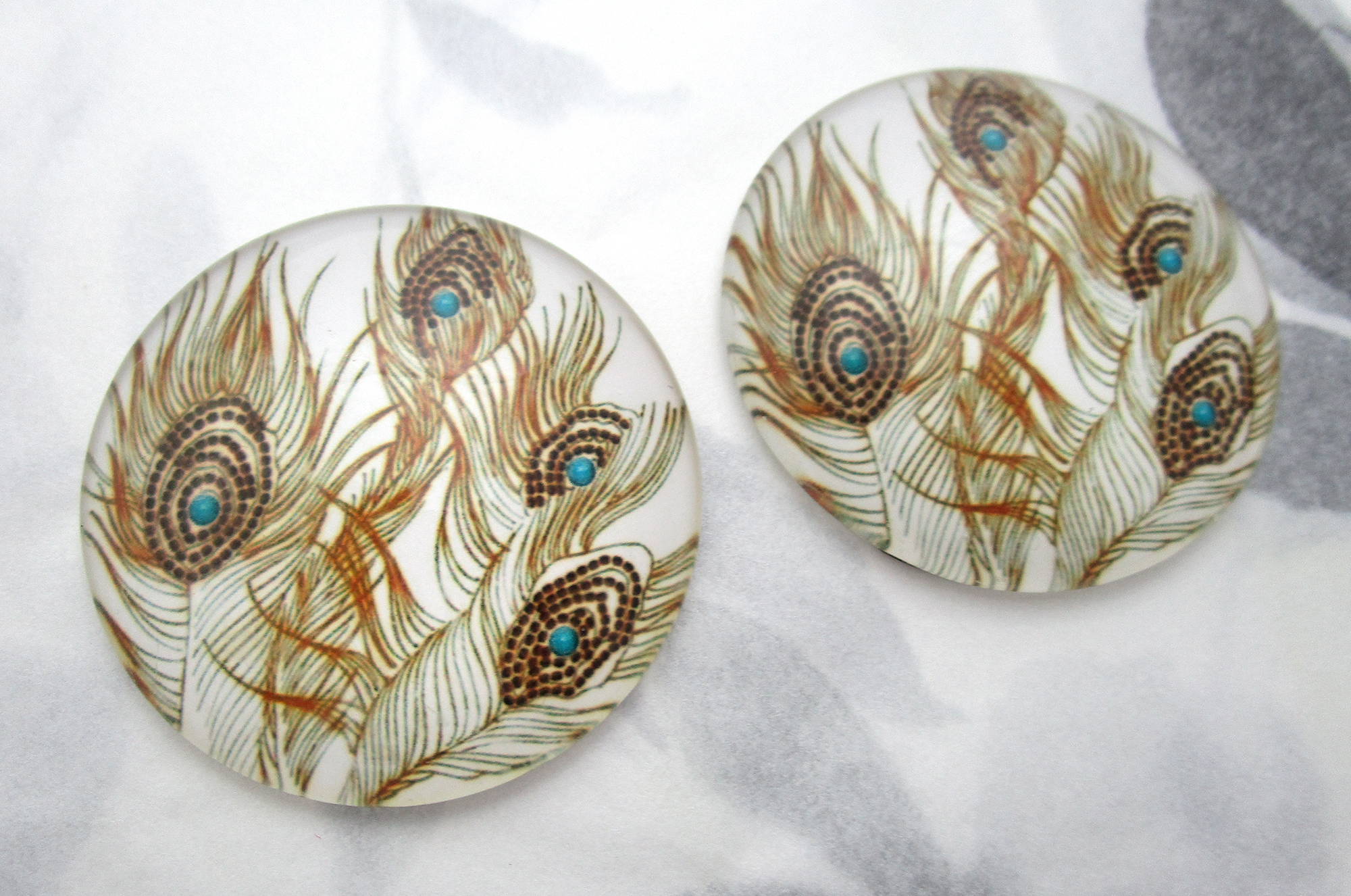 2 pcs. glass peacock feather flat back cabochons 40mm - f7220