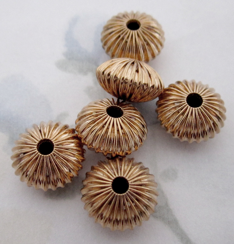 15 pcs. raw brass corrugated ridged saucer beads 12x7mm - f2876