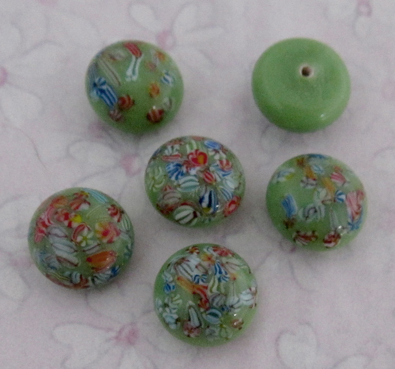 12 pcs. glass green millefiori cabochons 9mm - f2703