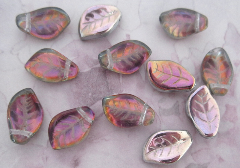 12 pcs. glass ab leaf beads 14x9x3mm - f3051