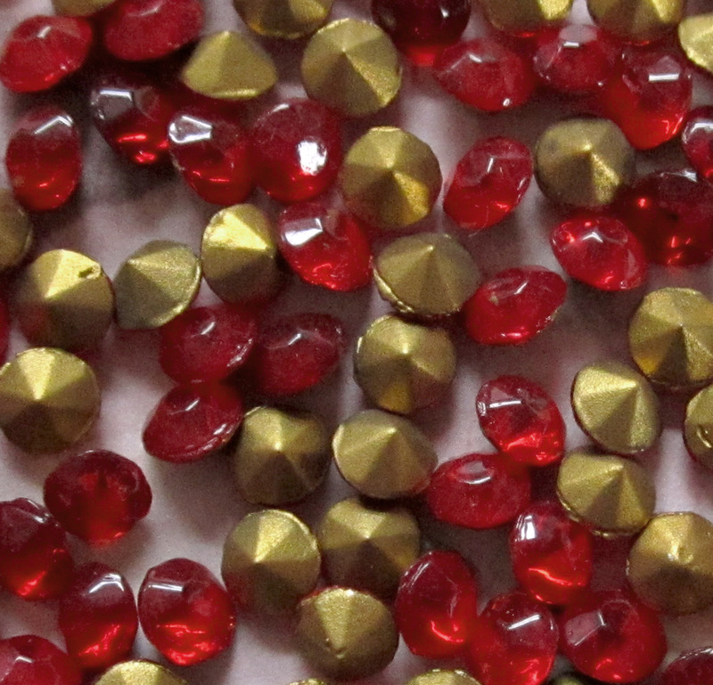 100 pcs. glass fire polished red rhinestones ss18 - f3064