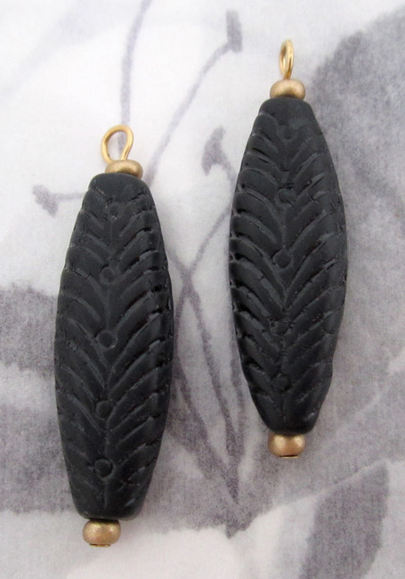 4 pcs. pressed glass long feather leaf matte bead charms 32x10x4mm - f4344